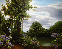 Painting tutorial for 'Lilac Pond' by John O'Keefe - Day 10