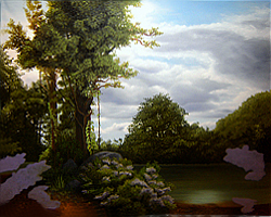 Painting tutorial for 'Lilac Pond' by John O'Keefe - Day 8