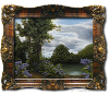 Finished oil painting with frame: 'Lilac Pond' by John O'Keefe Jr.