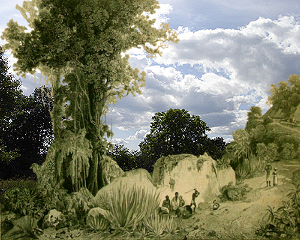 Painting tutorial for 'Lilac Pond' by John O'Keefe - Reference Victorian engraving overlaid with cloud photo