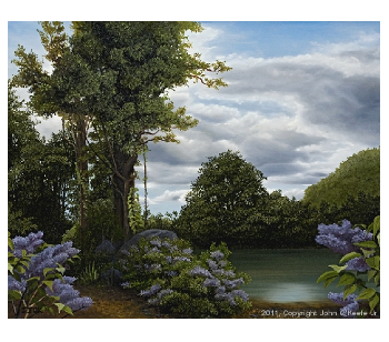Finished oil painting: 'Lilac Pond' by John O'Keefe Jr.