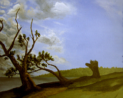 Painting tutorial for 'Old Olive Tree Path' by John O'Keefe Jr. - Day 2