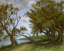 Painting tutorial for 'Old Olive Tree Path' by John O'Keefe Jr. - Day 5 digital edits