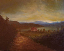 Painting tutorial for 'Peaceful Connecticut Valley in Autumn' by John O'Keefe Jr. - Day 3