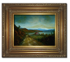 Finished oil painting with frame: 'Peaceful Connecticut Valley in Autumn' by John O'Keefe Jr.