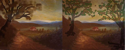 Painting tutorial for 'Peaceful Connecticut Valley in Autumn' by John O'Keefe Jr. - John's composition ideas 1