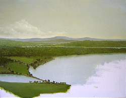 Painting tutorial for 'River Through the Adirondack's' by John O'Keefe - Day 3