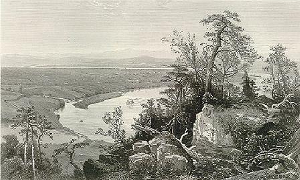 Painting tutorial for 'River Through the Adirondack's' by John O'Keefe - Reference Victorian engraving