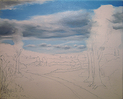 Painting tutorial for 'Summer on the Valley' by John O'Keefe - Day 1 Hour 3