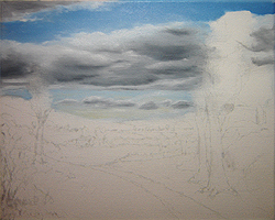 Painting tutorial for 'Summer on the Valley' by John O'Keefe - Day 1 hour 6