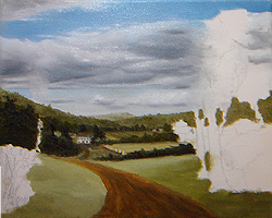 Painting tutorial for 'Summer on the Valley' by John O'Keefe - Day 2 hour 12