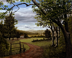Painting tutorial for 'Summer on the Valley' by John O'Keefe - Day 6 Hour 26