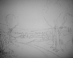 Painting tutorial for 'Summer on the Valley' by John O'Keefe - Reference composition sketch