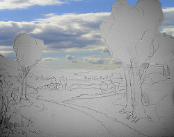 Painting tutorial for 'Summer on the Valley' by John O'Keefe - reference composition sketch with cloud photo overlay by Jennifer O'Keefe