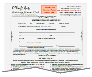 O'Keefe Arts Credit Card Authorization Form