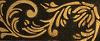 Stencil Leaf Scroll over Black and Mottled Gold Leaf Base