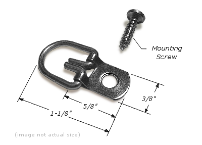 "D-Ring Hanger: 1 Hole, 3/8"" Wide Strap, Corrosion Resistant Plated Steel, Maximum Hanging Weight: 15 lbs, D-RING001"