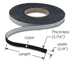 "Felt: Adhesive Back, Rabbet Felt Liner Strip, Thickness: 1/16"", Width: 1/4"", Black, FELT001"